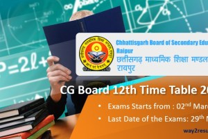 Chhattisgarh CG Board 12th Time Table 2019