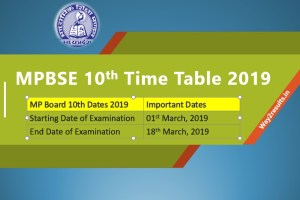 MP Board 10th Time Table March 2019