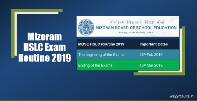 Mizoram HSLC Routine March 2019