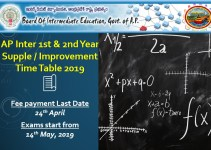 AP Inter 1st & 2nd Year Supplementary Improvement Dates 2019