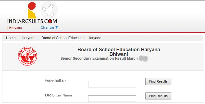 Haryana 12th Class Result 2019 Name Wise