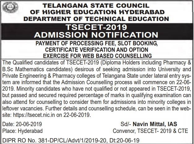 TS ECET Counselling Dates - Certificate Verification Rank Wise