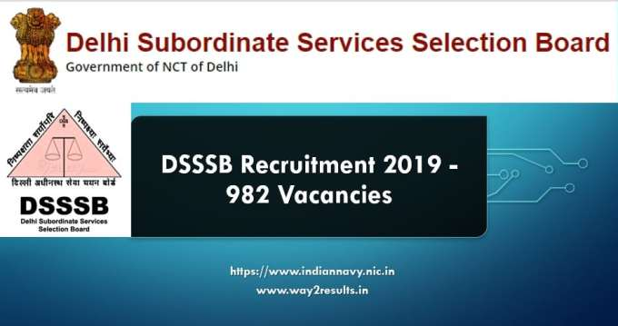 DSSSB Recruitment 2019 - 982 Vacancies
