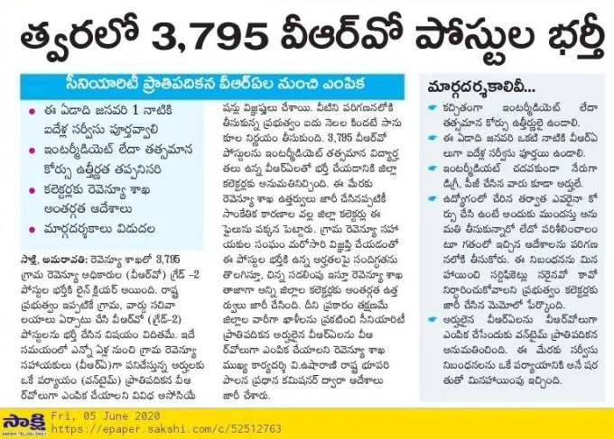 AP VRO Recruitment 2020 News in News Papers