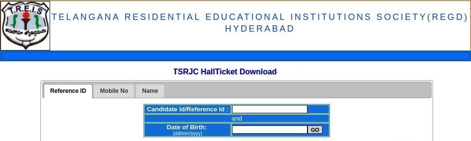 TSRJC CET Hall Ticket Download Screen 02