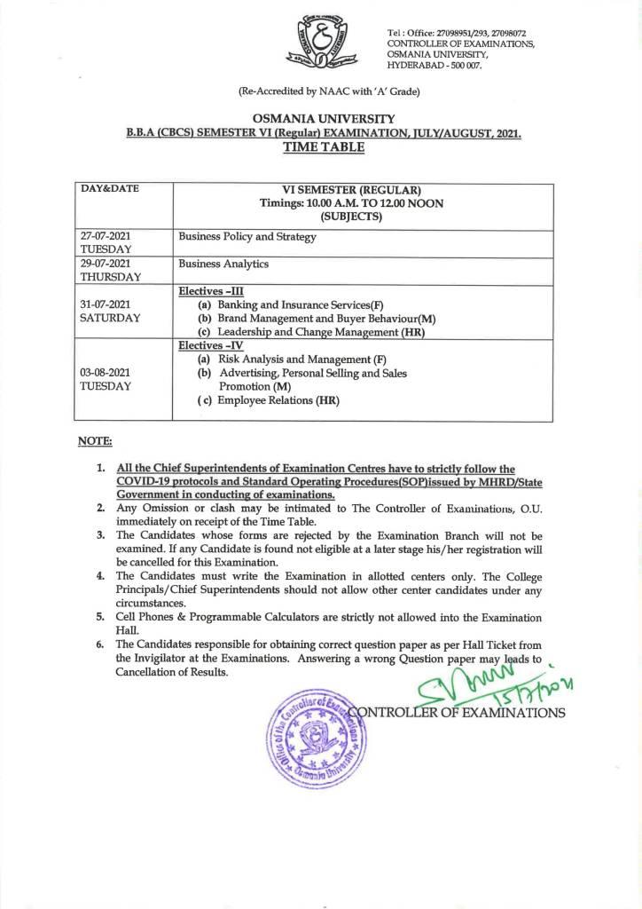 OU Degree BBS (CBCS) 4th Sem Regular Time Table 2021
