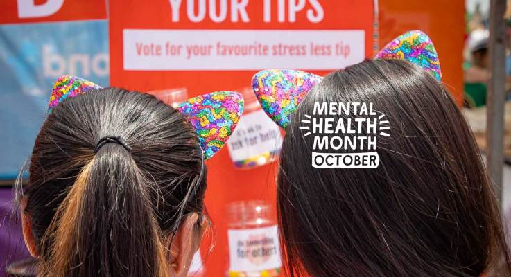 Two people wearing rainbow sparkly cat ears looking at a Stress Less Tips voting board