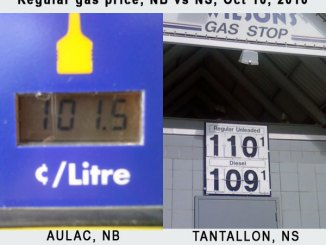 Gas Prices, NB vs NS, October 10, 2010