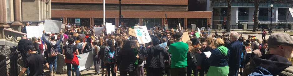 Great turnout at the student school strike for climate May 3 in front of City Hall.