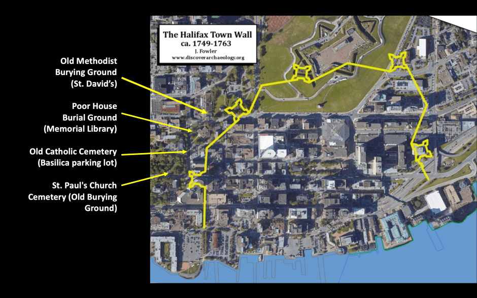 Aerial of downtown Halifax with location of town walls (palisade) and locations of original burial grounds.