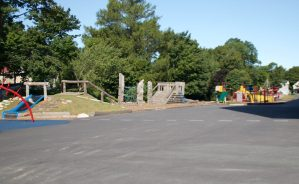 The new Le Marchant St Thomas naturalized play structure.