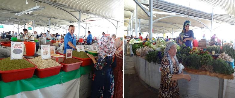 タシケントのチョルスバザールで売られている野菜