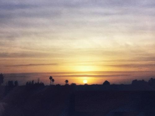 サハラ砂漠の夕日