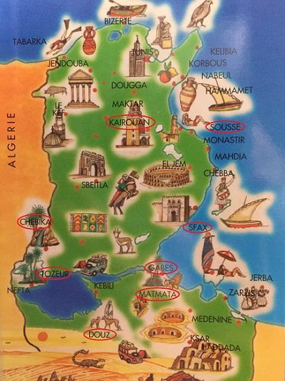 チュニジアの観光地地図