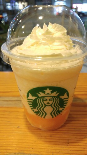 cantaloupe drink with cantaloupe in it. Always see what Starbucks is serving in Japan
