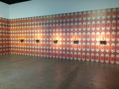 "Pio Abad's ""Oh! Oh! Oh! (A Universal History of Iniquity) of digital wallpaper and plastic perfume bottles"
