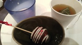 strawberry latte, mint tea and strawberry dipped chocolate cake (thought it was a chocolate covered strawberry)