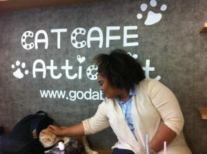 Nathalie petting a cat at a cat cafe