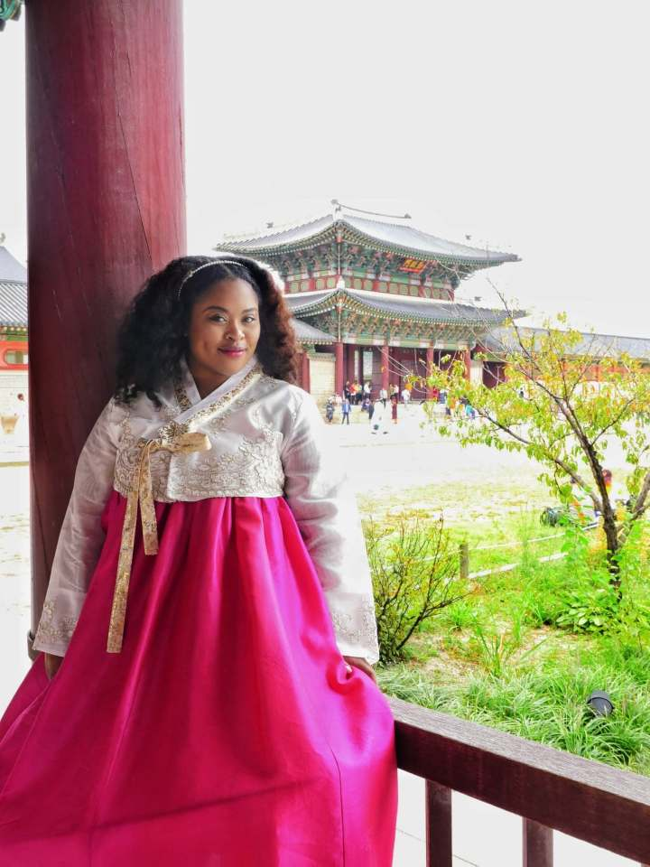 Nathalie wearing a Hanbok in Gyeongbokgung palace in South Korea