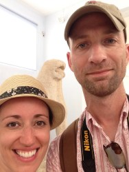 """With one of the actual lions that was moved from its place near the """"lake"""" for preservation in the museum"""