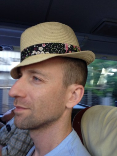 Tim has been unable to locate a fashionable hat, so he decided to sport mine.