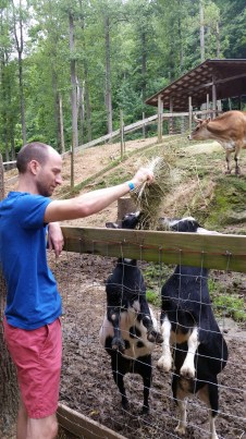 Tim feeds the kids