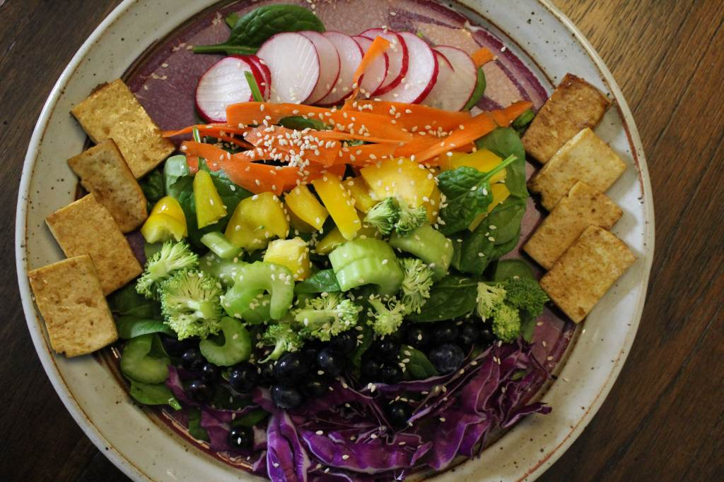 Chakra Rainbow Salad with Ginger Sesame Dressing