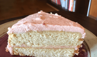 Vegan Lemon Birthday Cake with Strawberry Icing