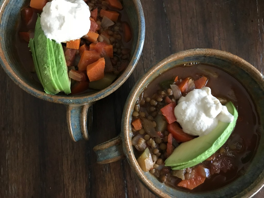 Put Your Mask on First, and Make this Lentil Veggie Soup