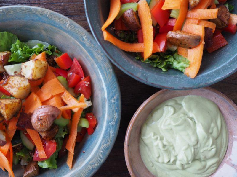 Blogging Spring Salad with Avocado Cream Dressing