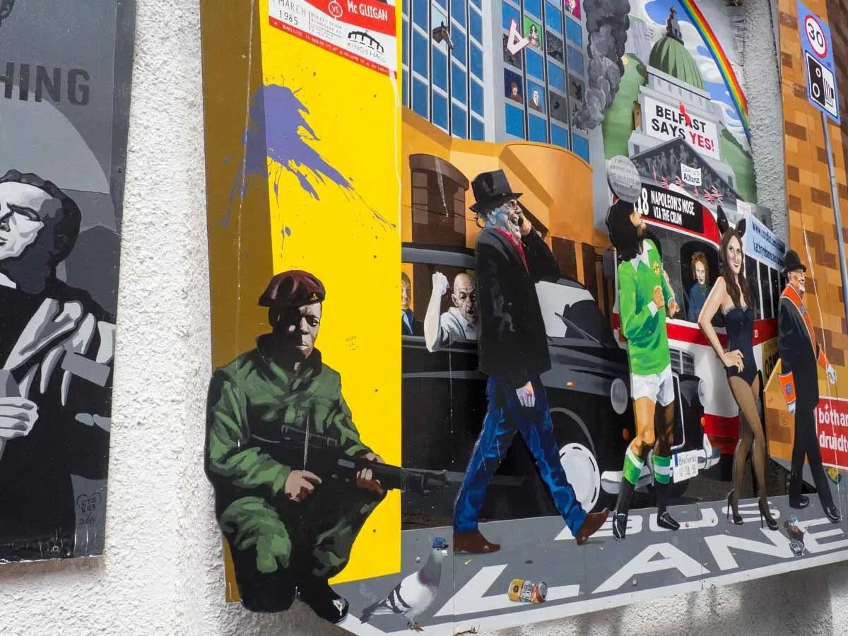 Belfast Street Art Dark Horse pub parking lot