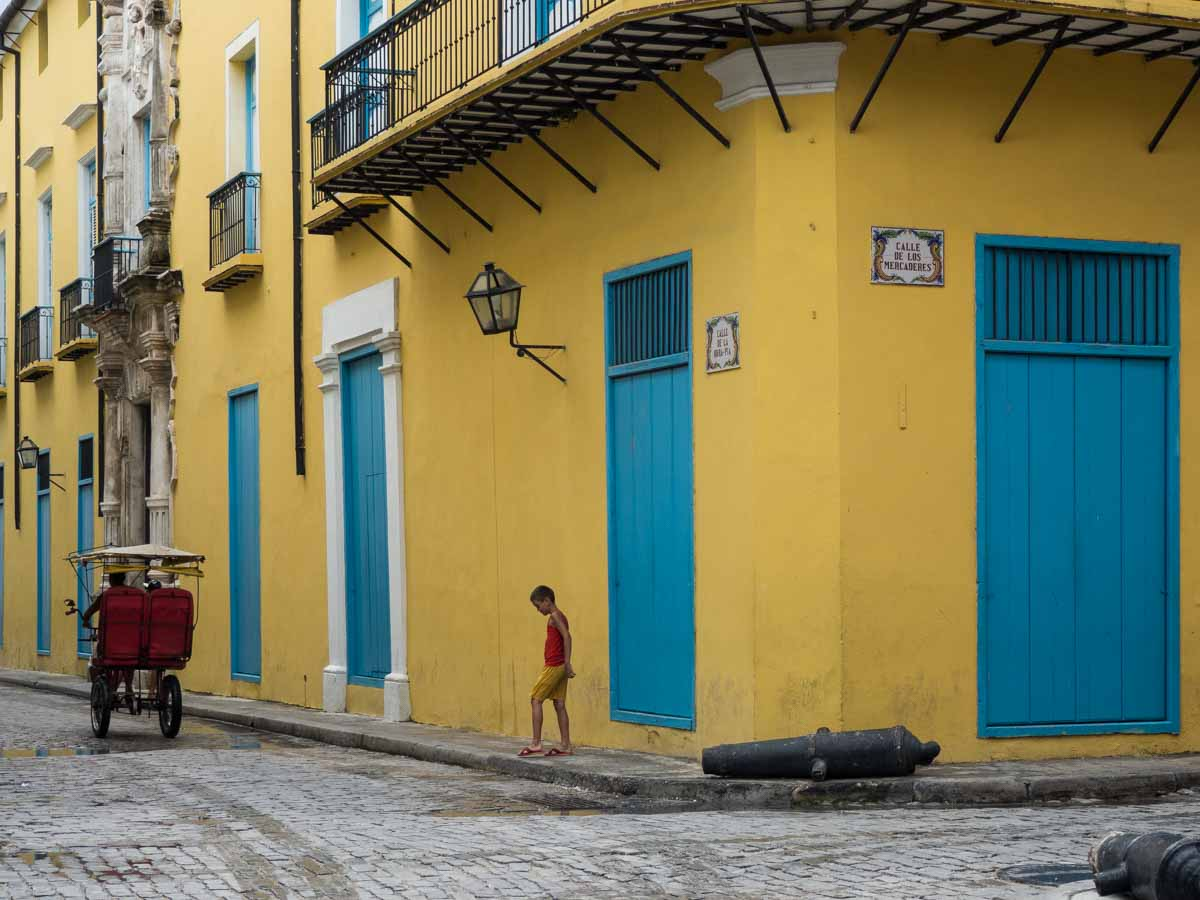 Havana Vieja Blue and Yellow Building