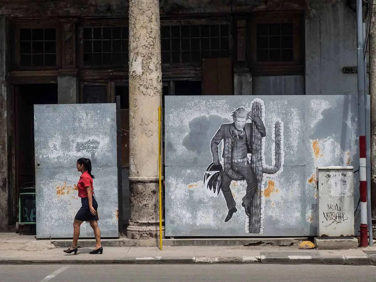 Havana street art - Trump on a Cactus