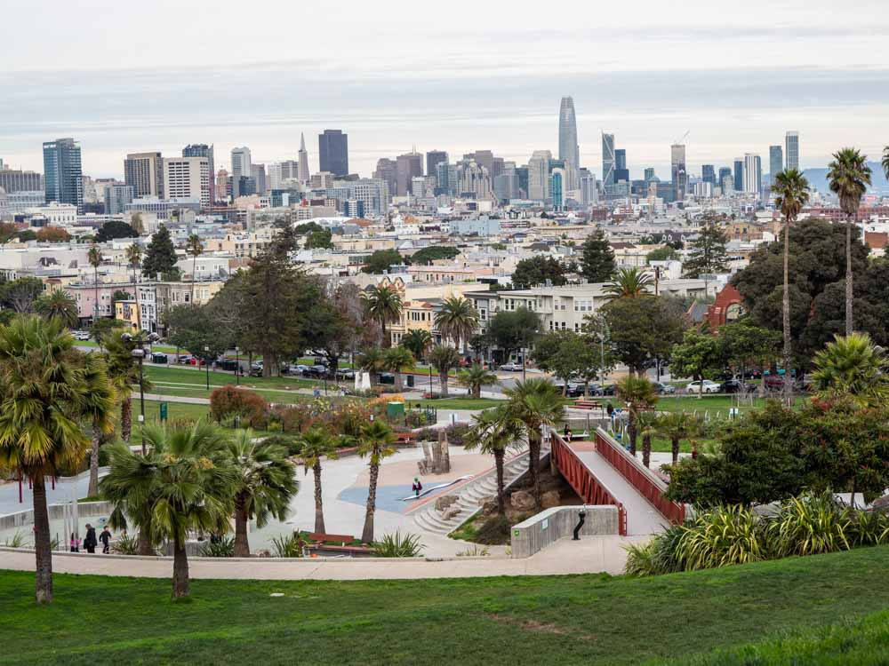 Offbeat San Francisco: Dolores Park with views of the San Francisco Skyline