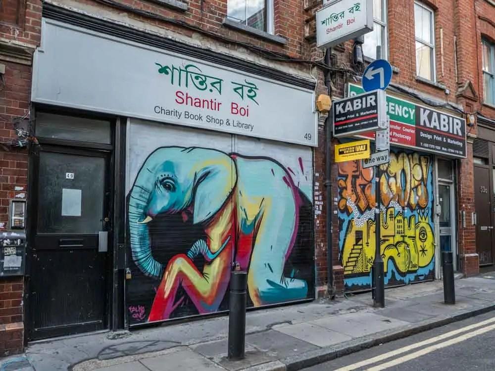 Brick Lane streetart elephant by Falkoone