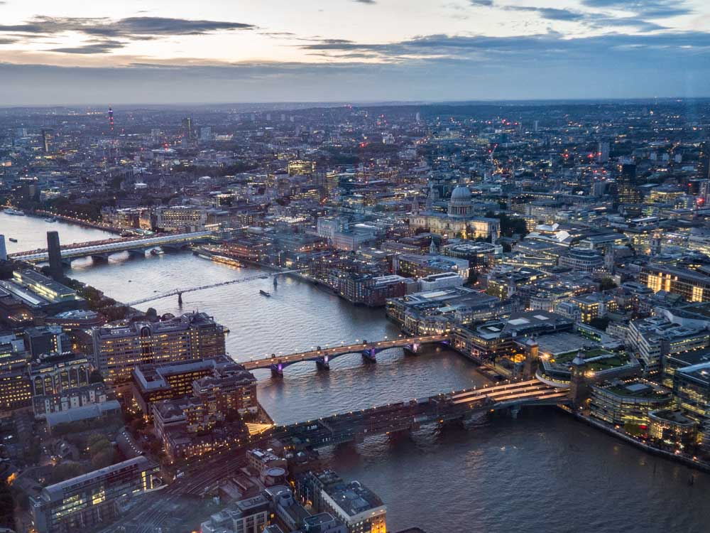 Sunset view of London from the Shard