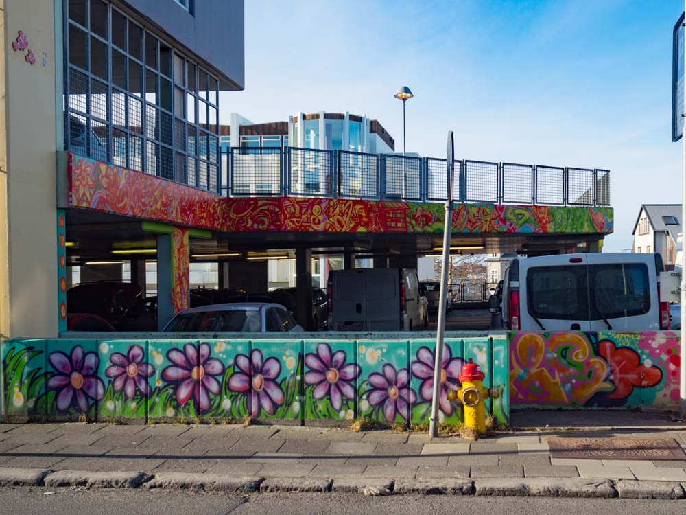 Reykjavik street art flowers on car park