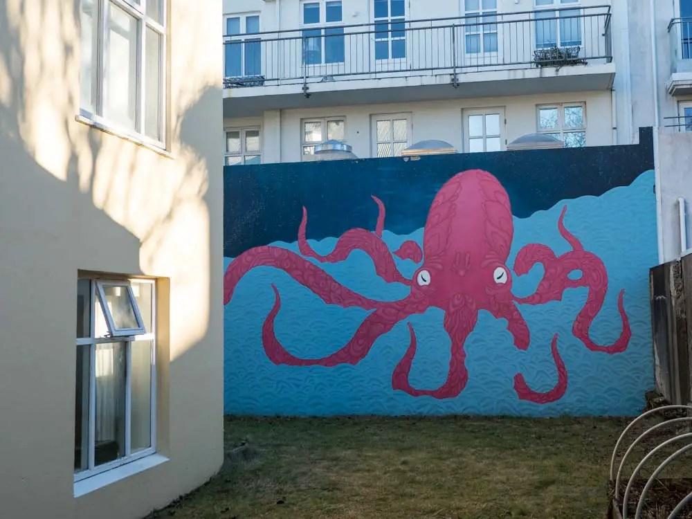 Reykjavik mural pink octopus