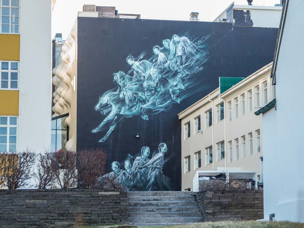 Reykjavik mural Pale Green Ghosts by John Gent