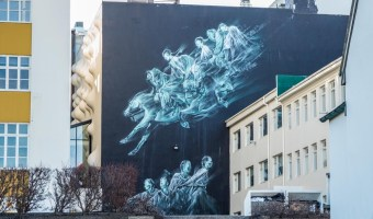 Pale Green Ghosts Mural in Reykjavik