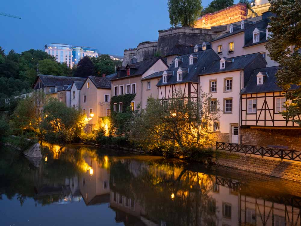 Luxembourg city break The Grund at night