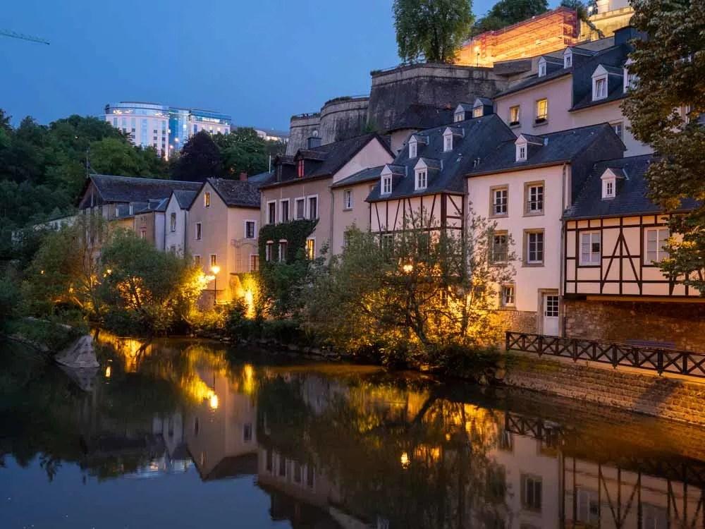 Luxembourg city break The Grund at night