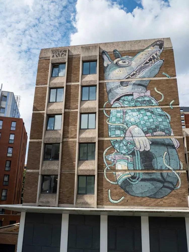 Bristol street art by ARYZ Disco Dog