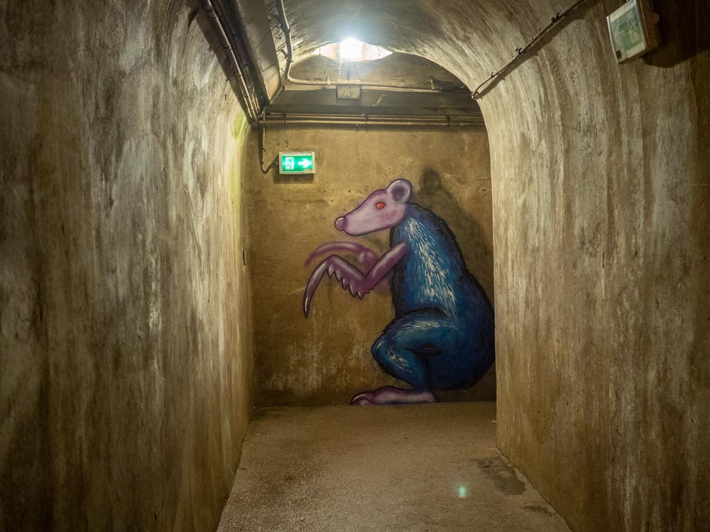 Paris sewer museum rat mural