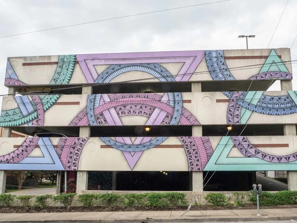 Nashville Mural in Elliston Parking Lot. Purple geometric street art