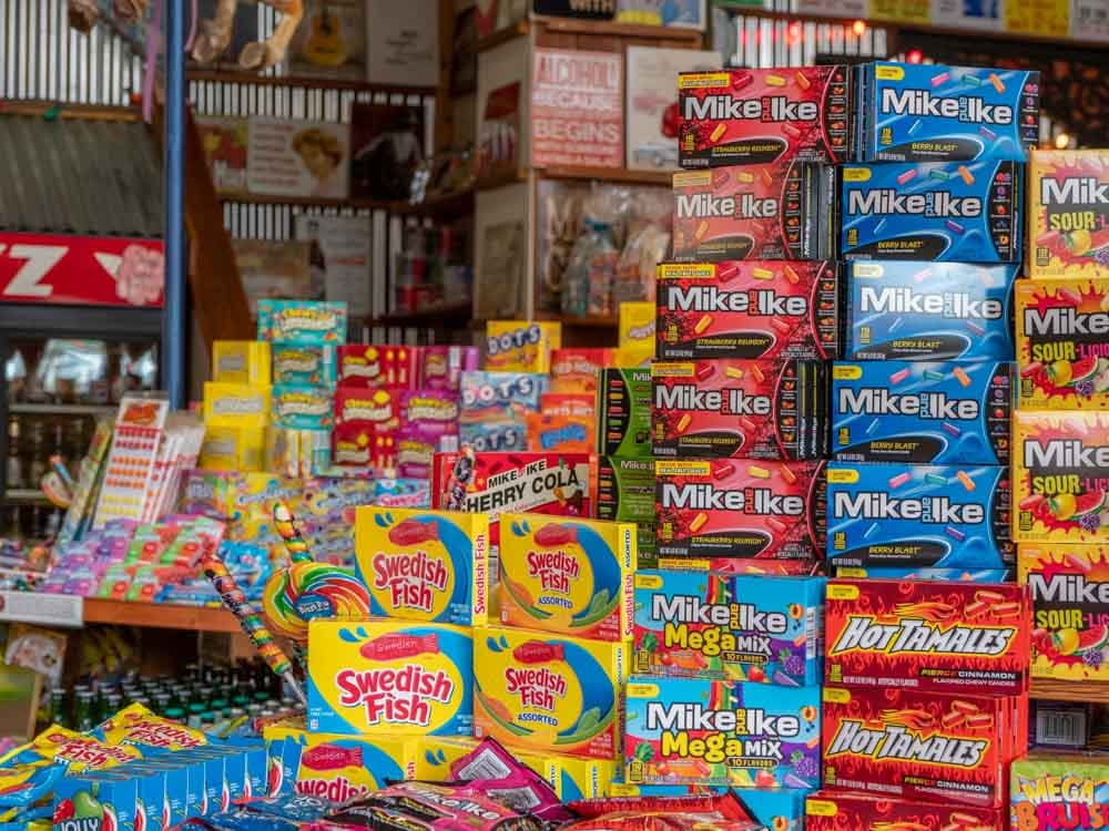 Nashville candy store Rocket Fizz with hot tamales, swedish fish, mike & ikes