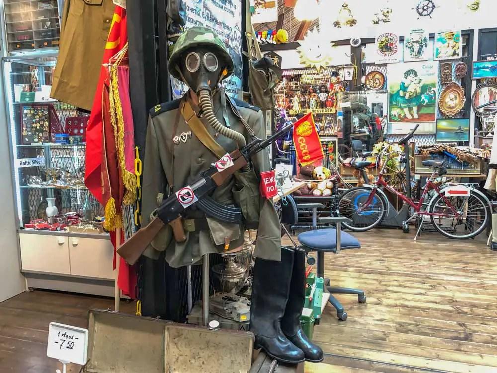 Balti Jaam Market Tallinn. Antique store and gas mask