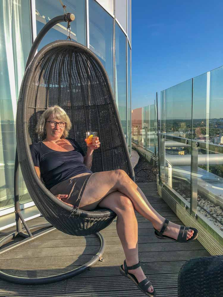 Radisson Blu Skybar Tallinn. Drinking a cocktail, city view