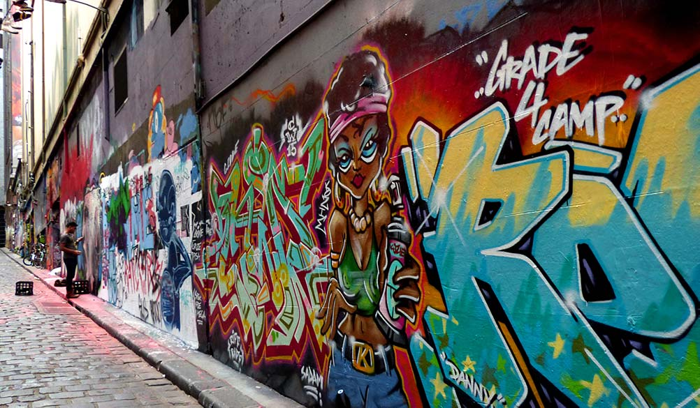 Worlds best graffiti- in Hosier Lane in Melbourne. Murals with man in alleyway