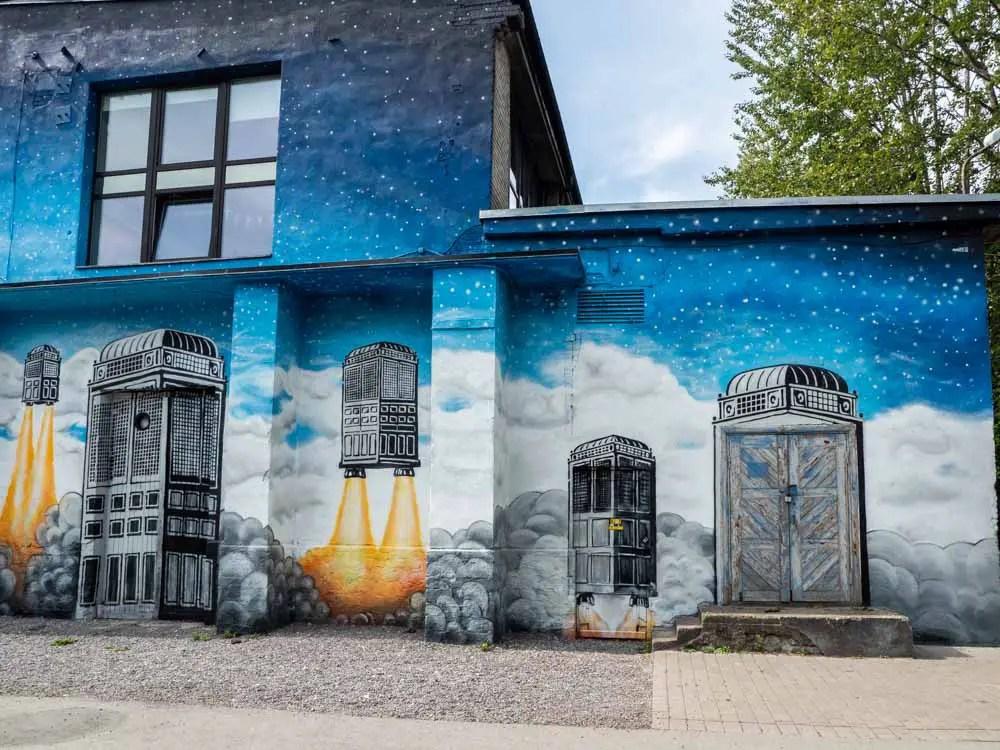 Tallinn Telliskivi mural blue lift off